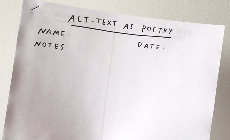 Image of hand written alt text on a sheet of white paper