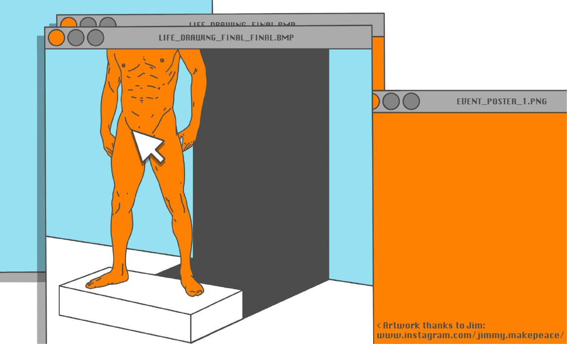 a digital illustration of a statue, seen through a 90s style browser