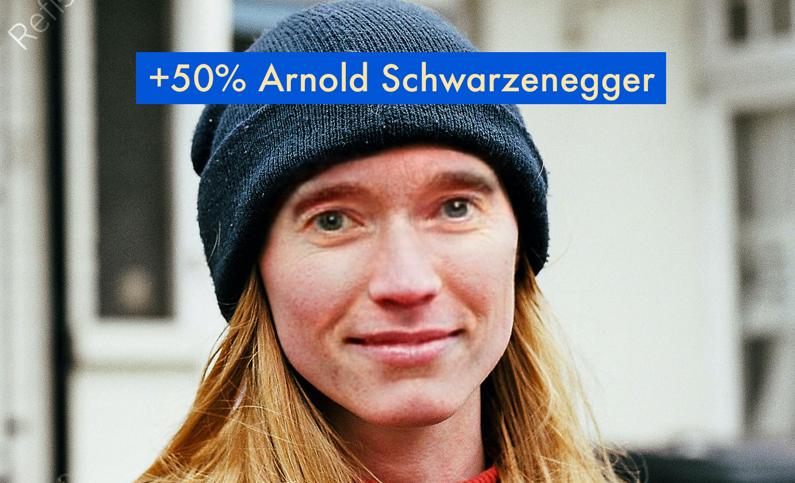 Image of Rachel's face mixed with Arnold Schwarzenegger