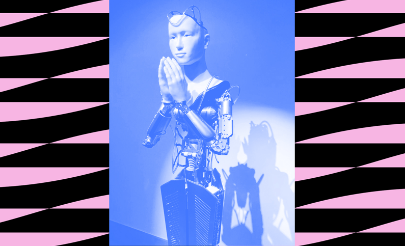 image of robot in blue on pink and black background
